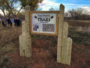 A new sign welcomes visitors to the Tom Pfeifle Trails at Raider Park near Rapid City Stevens High School. Photo Date: Oct. 24, 2018.