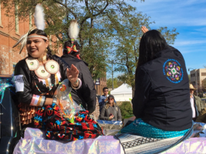 Candidates for Miss He Sapa Win participate in the fourth annual Native American Day Parade in Downtown Rapid City. The parade is part of the Black Hills Powwow. Photo Date: Oct. 6, 2018.