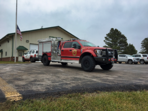 Johnson Siding Volunteer Fire Department's new Darley MaxWASP fire engine. The apparatus is a fully equipped fire engine on a Ford F-550 chassis and an off-road suspension. It will allow firefighters to bring a fire engine deeper into the forest than full-size fire engines. Photo Date: Nov. 3, 2018.