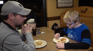 Derek and Sylus eating at Pizza Ranch
