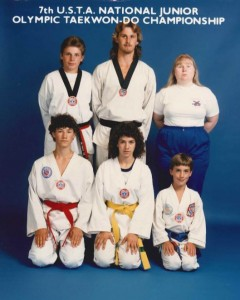 A young Julaine (back row right) as coach of her National Junior Olympic Taekwon-Do Championship Team