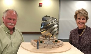 Artist Dale Lamphere and BHSU President Laurie S. Nichols with model sculpture, courtesy BHSU