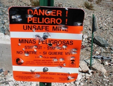 Los Padres Mine Warning Sign Cropped